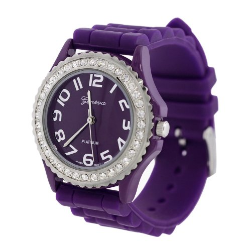 WorldTree Fashion Silica Band Quartz Watch Wristwatch Dark Purple Unisex Watch