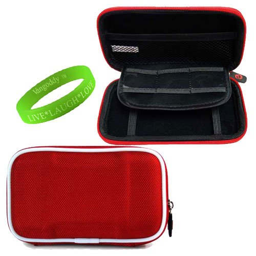 Portable Hard Drive Computer Accessories Hard Cube Protective Carrying Case in Ruby Canvas with Ivory Trim **Fits WD My Passport for Mac Portable Hard Drives** + VanGoddy LIVE * LAUGH * LOVE Wristband
