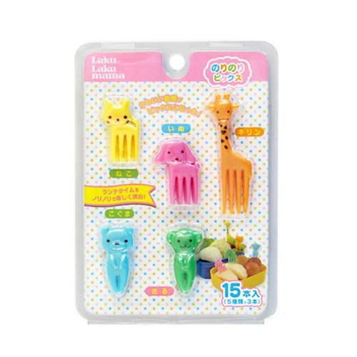 CuteZCute Bento Food Pick Fork, 15-Piece, Giraffe, Dog, Cat, Bear, Monkey (Color may vary)