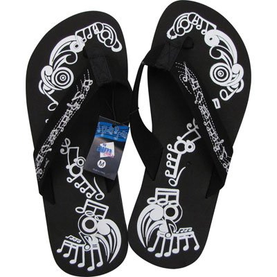 Women's Music Note Flip Flops (Size 9 Large)