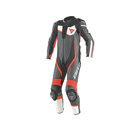 Dainese 1513437_N32_50 Veloster Perforated Suit 1 Pièce, Noir/Blanc/Fluo-Red, 50 cm