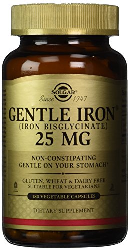 Solgar Gentle Iron 25 MG (IRON BISGLYCINATE) 180 Vegetable Capsules (Iron Capsules compare prices)