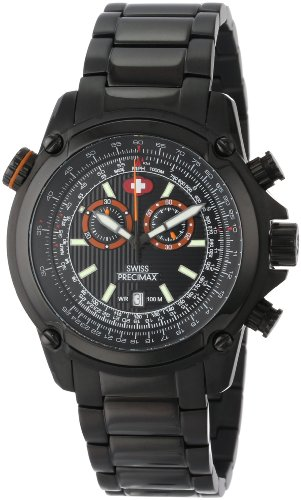 Swiss Precimax Men's SP13075 Squadron Pro Black Dial with Black Stainless-Steel Band Watch