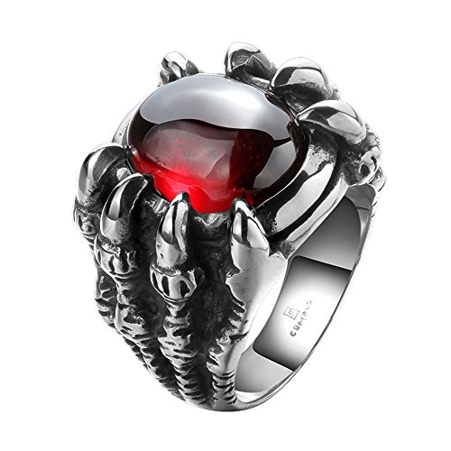 Romantiko 2016 Vintage Cool Stainless Steel Gothic Dragon Claw Devil Eye Hyacinth Men's Ring 8 (Dragon Eye Ring compare prices)