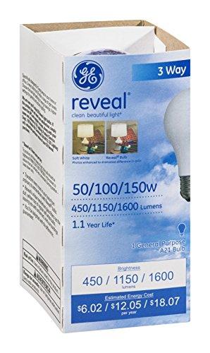 GE Reveal 50/100/150W 3 Way Bulb EA (Pack of 18) белый город сливки стерилизованные 33% 0 2 л