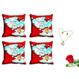 MeSleep Blue Happy Valentine Cushion Cover (16x16) - Set Of 4 With Free Artificial Rose And Pendant Set