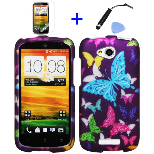 Click to buy 4 items Combo: Mini Stylus Pen + LCD Screen Protector Film + Case Opener + Purple Pink Green Yellow Blue Multi Color Butterfly Design Rubberized Snap on Hard Shell Cover Faceplate Skin Phone Case for AT&T (HTC ONE VX) - From only $27.99
