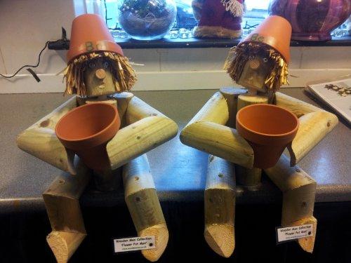 Bill and Ben Wooden Garden Gnome / Ornament pair - Garden Gift or also for Kitchen shelf / conservatory (Flower Pot Log Man)