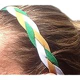 It S Ridic No Slip Grip Non-Slip Sports Athletic Nylon Triple Braided Sports Headband White | Green | Gold