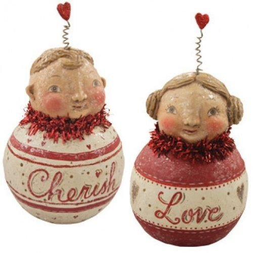 Bethany Lowe Valentine Chubby Cherub Bauble Set JP0179