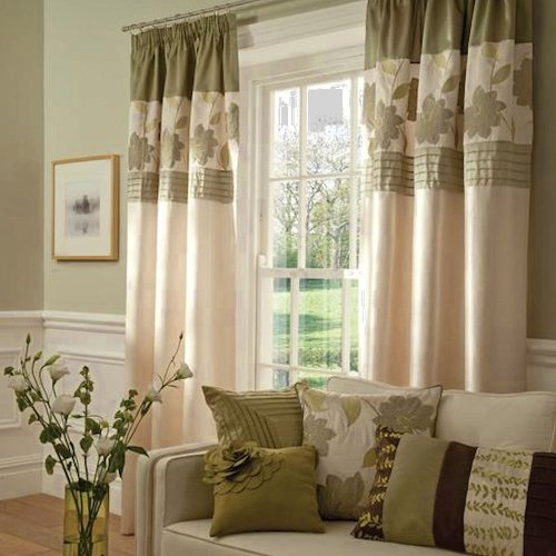Clarissa Green Faux Silk Floral Modern Fully Lined Curtains 90