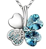 Platinum Plated Aqua Marine Turquoise Clover Pendant Necklace with Swarovski Crystals in Gift Box
