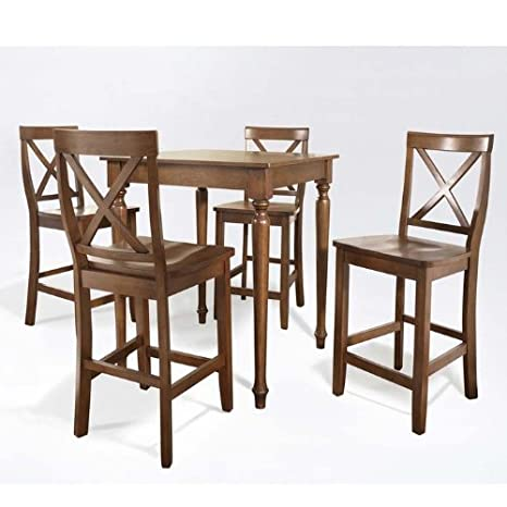 Crosley 5-Piece Pub Dining Set with Turned Leg and X-Back Stools, Classic Cherry Finish