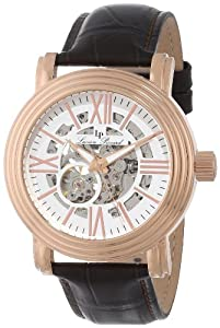 Lucien Piccard Men's LP-11912-RG-02S White Skeleton Dial Brown Leather Automatic Watch