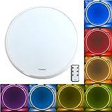 TIWIN Shining RGB LED Deckenleuchte Hauptlicht dimmbar + Umgebungslicht in 8 Farben 45x6cm warmweiss 25W, A+, 1700 Lm, 3000K,120 Grad