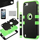 Pandamimi ULAK Hybrid 3 Layer Black and Green Hard Case Cover with Silicone Soft Shell Inside Defender for Apple iPod Touch Generation 5 + Stylus + Screen Protector
