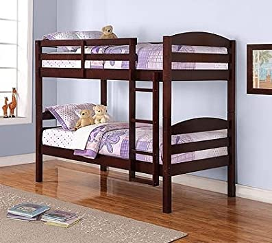 Spectacular Beds Twin over Twin Wood Bunk Bed Espresso Finish