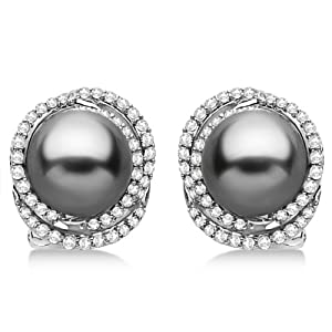 Near Round Tahitian Cultured Pearl and Diamond Fashion Earrings .63ctw 14k White Gold (9mm)