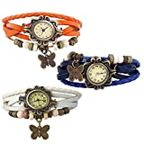 Combo of 3 VB-310 Vintage Butterfly White + Orange + Blue