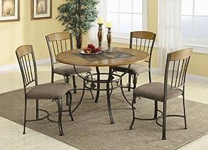 5pc Dining Table Set Wood Top Warm Bronze Metal Base
