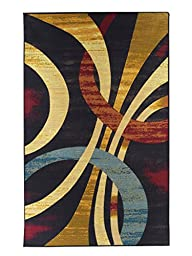 Area Rugs 5 x 8 Contemporary Rug Wavy Circles, Foyer, Dining Room, Living Room Multi Color Stain Resistant