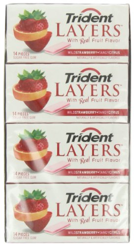 Trident Layers Gum, Wild Strawberry + Tangy Citrus, 14-Piece Packs (Pack of 12)