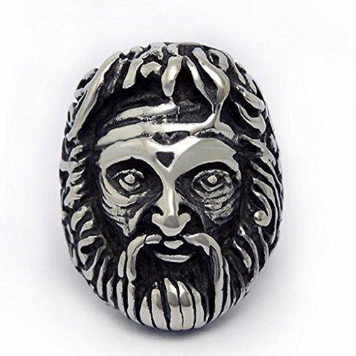 Mens Stainless Steel Finger Rings Indians Emirates Skull Head Black Size 10 - Adisaer Jewelry