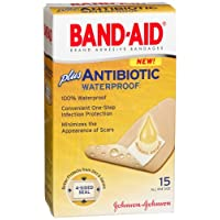Band-Aid Brand Adhesive Bandages Plus Antibiotic, Waterproof, 1