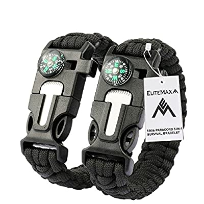 #1 Best Paracord Bracelet 2PCS Pack - 5-In-1 Outdoor Paracord Survival Kit 550LB Parachute Cord, Buckle with Compass, Flint Fire Starter, Whistle & Emergency Knife Scraper - Hiking Camping Gear-Black