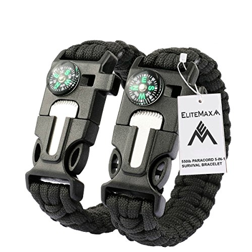 #1 Best Paracord Bracelet 2PCS Pack – 5-In-1 Outdoor Paracord Survival Kit 550LB Parachute Cord, Buckle with Compass, Flint Fire Starter, Whistle & Emergency Knife Scraper – Hiking Camping Gear-Black