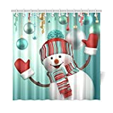 Merry Christmas Snowman Waterproof Fabric Bathroom & Bath Shower Curtain with 12 Hooks 72(w) x 72(h),Bathroom Decor,One Side Printing by Qearl