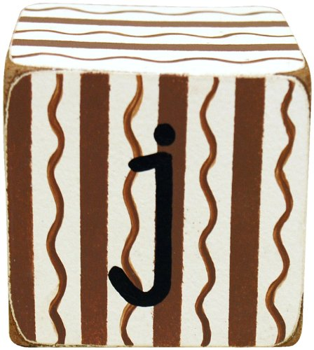 New Arrivals Letter Block J, Chocolate/White