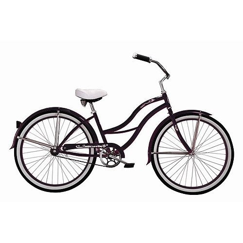 Black Tahiti Women's Beach Cruiser Bike with 26-inch White Wall Tires