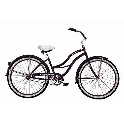 Black Tahiti Women's Beach Cruiser Bike with 26-inch White Wall Tires