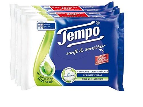 "Tempo feuchte Toilettentücher ""sanft & sensitiv"" Doppelpackung, 2er Pack (2 x 84 Tücher)"