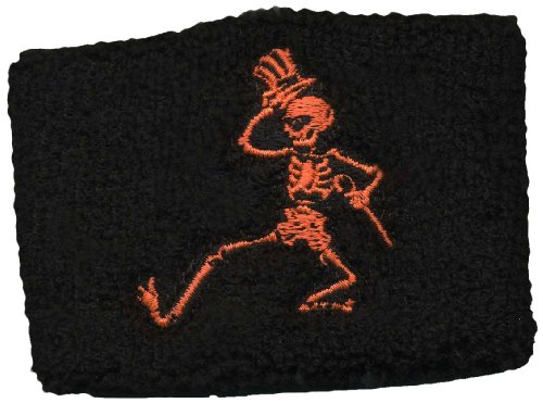 Licenses Products Grateful Dead Dancing Orange Skellys on Black Wrist Band