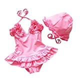 Baby Girls Flower Flounced One Piece Swimsuit With Hat pink-M(1/2Y)