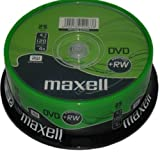 25 Maxell DVD + RW DVD+RW Discs 4.7GB 120Min 25 Spindle 275894 DVD Rewritable