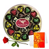 Magical Chocolate Combinations With Rose And Love Card - Chocholik Belgium Chocolates