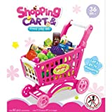 Childrens Shopping Trolley Basket for Toy Shop Kitchen Over 80pcs Play Food Set (Pink)