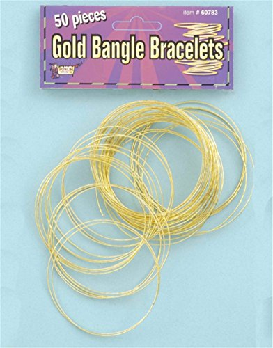 Women's Set of 50 Thin Sparkling Gold Disco Bangle Bracelets