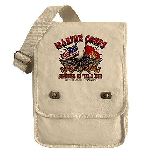 Royal Lion Messenger Field Bag Marine Corps Semper Fi 'Til I Die - Khaki