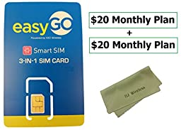 EasyGo Triple Cut Nano / Micro / Standard SIM Card w/ 2X $20 Month Unlimited Call/Text w/ 4G LTE Data Plan. Easy Go AT&T Towers Powered by H2O Preloaded Activation Kit(2X $20 Monthly Plan)