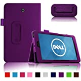 Infiland Folio PU Leather Slim Fit Stand Case Cover for Dell Venue 8 16GB 32GB Android 4.2 8-inch Tablet (DELL Venue 8 Android 4.2, Purple)