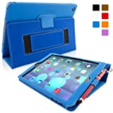 Snugg iPad Air (iPad 5) Case in Electric Blue Leather - Flip Cover and Stand with Automatic Wake / Sleep, Elastic Hand Strap & Soft Premium Nubuck Fibre Interior to Protect Apple iPad Air (iPad 5) - Includes Lifetime Guarantee