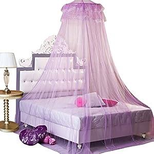 housweety nouveau moustiquaire ciel de lit lit rond de rideau en dentelle d me canopy. Black Bedroom Furniture Sets. Home Design Ideas