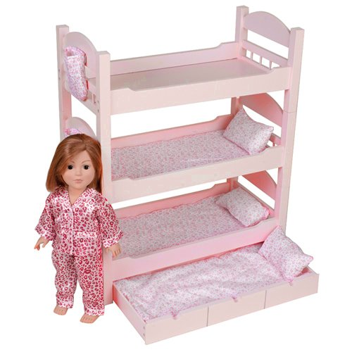 18 Inch Doll Triple Bunk Bed - Furniture Made to Fit American Girl or ...