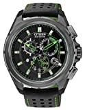 "Citizen Mens AT7035-01E ""Proximity"" Eco-Drive Black Ion-Plated Stainless Steel Watch with Nylon-Lined Leather Strap and Green Accents"