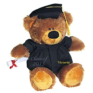 Graduation Gifts, Graduation Bear, Class of 2013, Graduation Gift for Her, Kindergarten, Rhinestones Class of 2013, Name Embroider from Tri Color