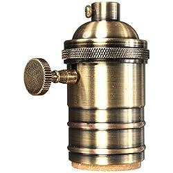 KINGSO E27 Lampenfassung Kupfer Vintage Retro Antike Edison Pendelleuchte Hängelampe Halter DIY Lampe Zubehör mit Schalter Antiker Messing